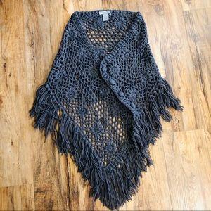 olivia sky floral fringe wrap shawl Sz xs/s